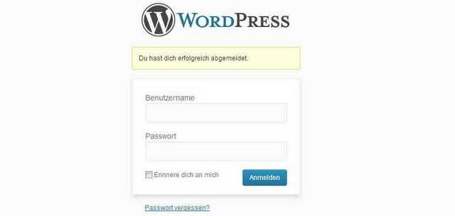 Anmeldefenster WordPress