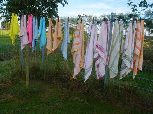 Tücher auf der Wäscheleine